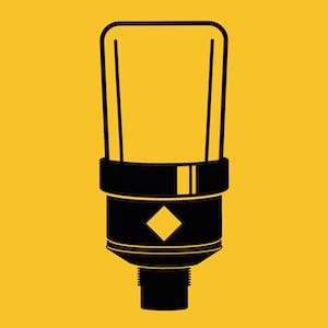 Microfoon icon bij podcast productie